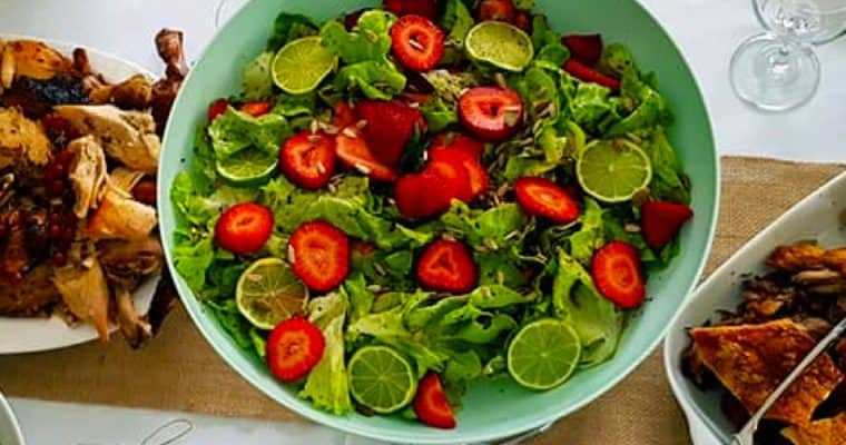 Butter Lettuce and Strawberry Salad with Lime, Raspberry Vinaigrette