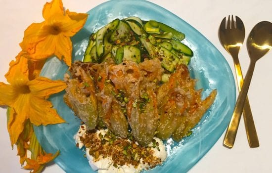 Middle Eastern Zucchini Flower Salad with Labneh