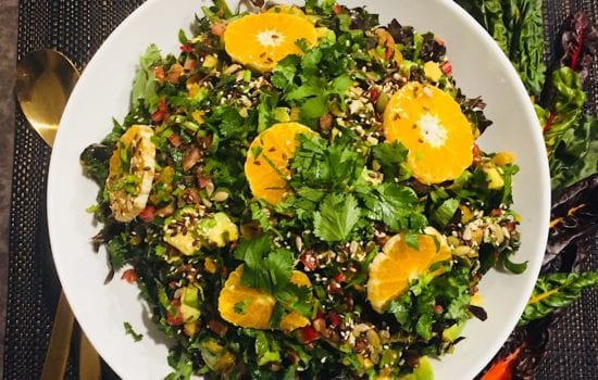 Rainbow Chard Salad with Avocado and Mandarin