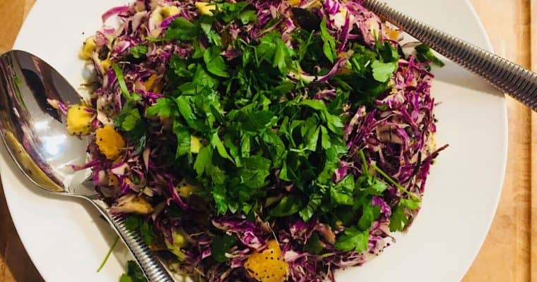 Shaved Purple Brussels Sprouts with Orange and Poppy-seeds