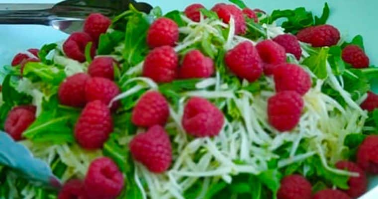 Kohlrabi Salad with Raspberries & Lime