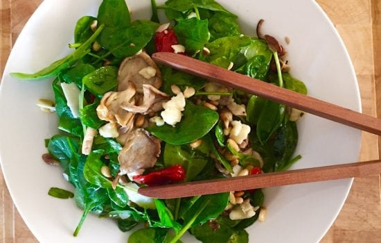 Oyster Mushroom and Semi-dried Tomato Salad with Smoked Cheese