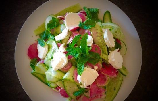 Watermelon Radish Salad with Lime Mint Vinaigrette
