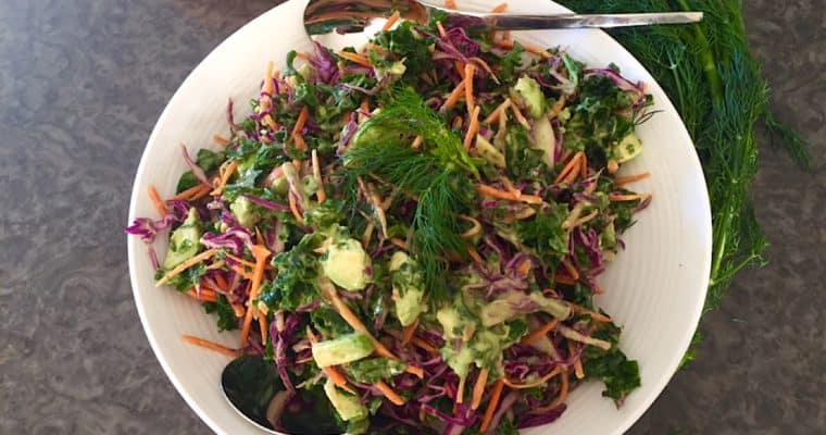 Kale and Red Cabbage Salad with Avocado Cream