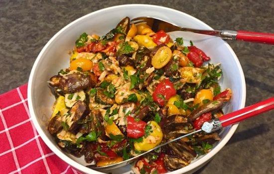 Roasted Summer Vegetable Salad with Muhammara