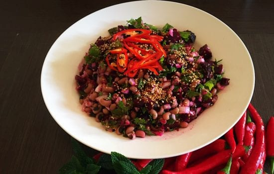 Roasted Beetroot Salad with Black Eyed Peas & Lime Chilli Dressing
