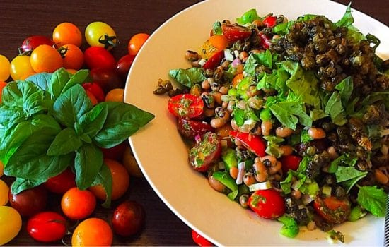Black Eyed Bean Salad with Crispy Capers