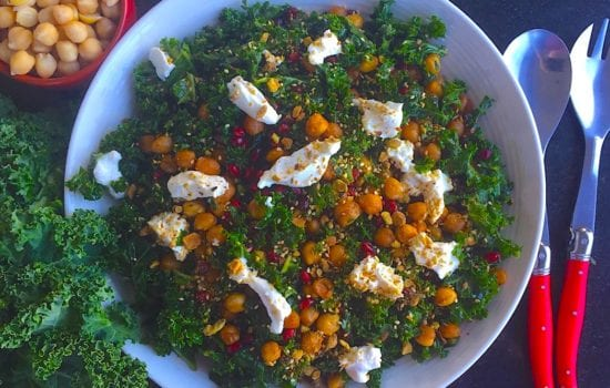 Kale and Chickpea Salad with Pomegranate