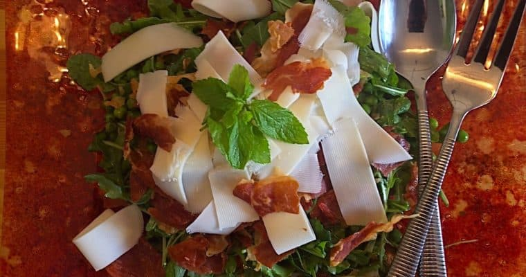Minty Pea Salad with Prosciutto and Provolone