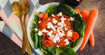 Roast Carrot Salad with Harissa & Feta