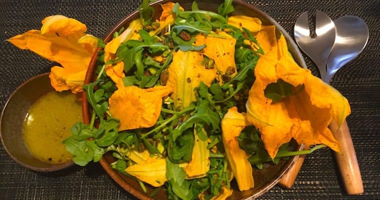 Zucchini Flower and Rocket Salad