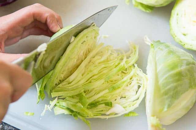 cutting cabbage with a knife