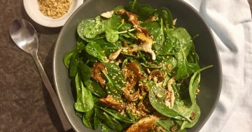 Pleurotus Oyster Mushroom Salad with Spinach