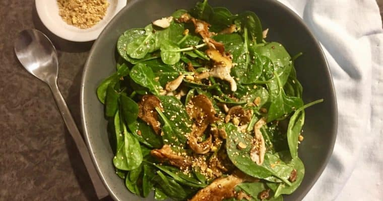 Mushroom and Spinach Salad with Dukkah