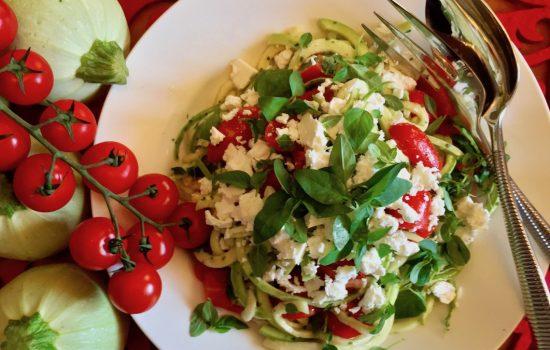 Zucchini Noodles, Cherry Tomato and Feta Salad