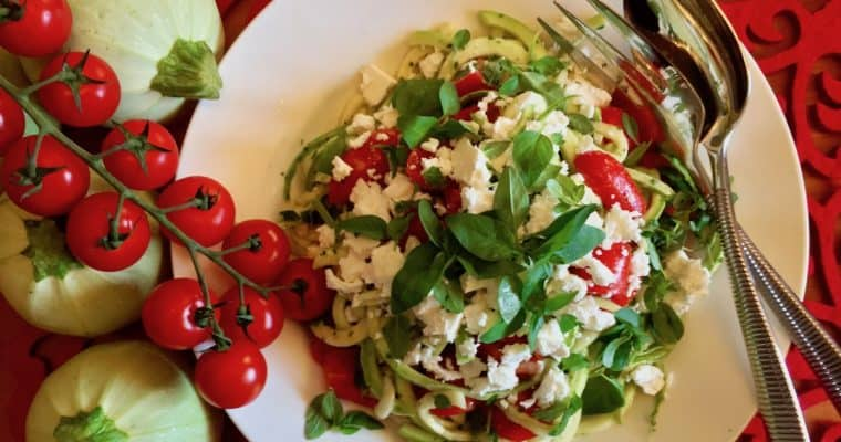 Cherry Tomato Salad with Zoodles and Feta