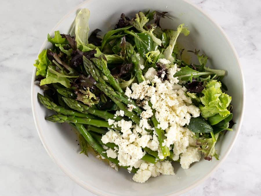 INGREDIENTS FOR BLANCHED ASPARAGUS SALAD IN A BOWL