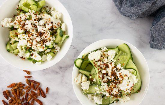 Feta Cucumber Salad with Chilli – Cut 2 Ways