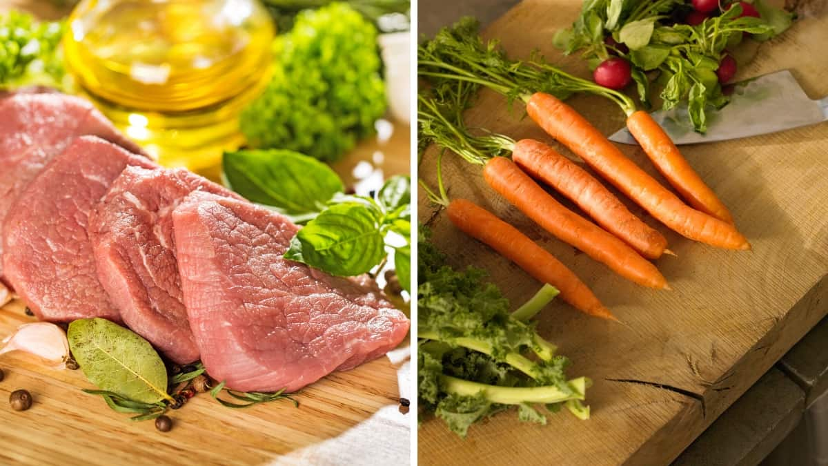 MEAT AND VEG ON CHOPPING BOARDS