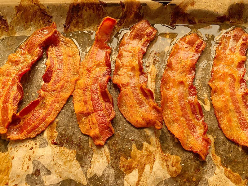 GRILLED BACON UNTIL GOLDEN BROWN