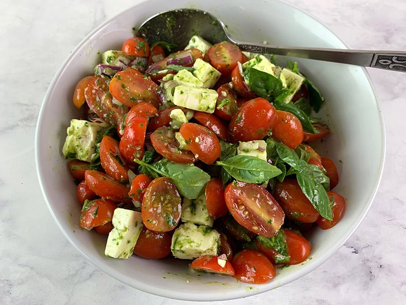 MIX YOU TOMATO FET SALAD UNTIL COMBINED