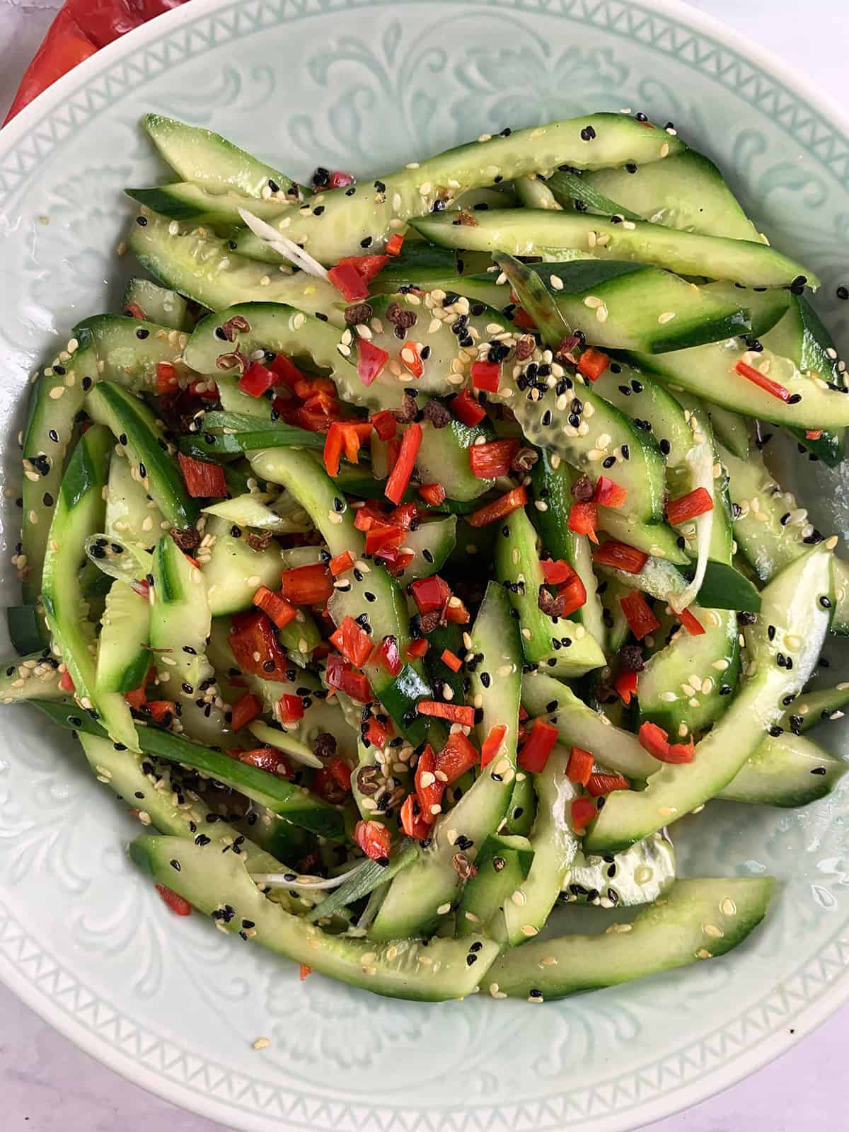 CLOSE UP OF CHINESE CUCUMBER SALAD