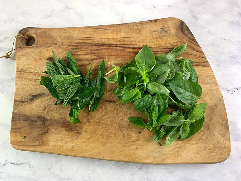 MINT-AND-BASIL-LEAVES-ON-BOARD
