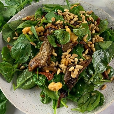 SMOKY MUSHROOM SALAD WITH SUN DRIED TOMATOES