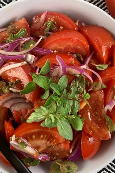 CLOSE UP OF TOMATO SALAD