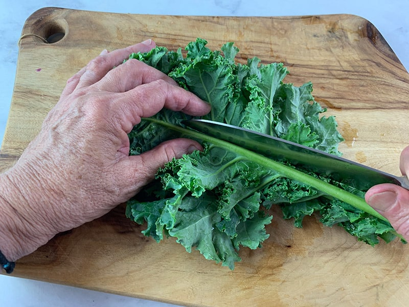 CUTTING KALE STEMS WITH A KNIFE