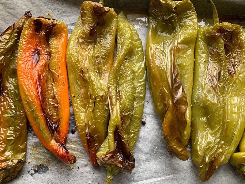 ROASTED PEPPERS ON AN OVEN TRAY