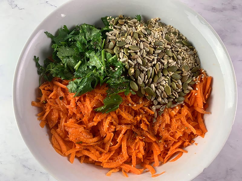 SHREDDED CARROT INGREDIENTS IN A BOWL