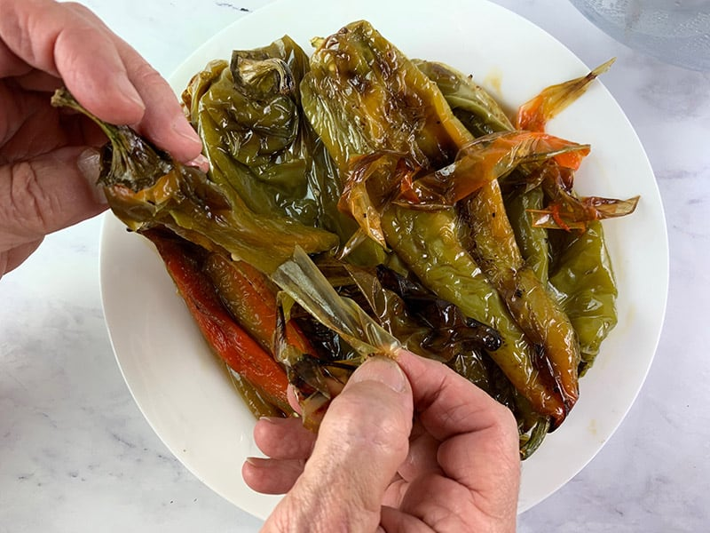 REMOVING-THE-SKIN-FROM-ROASTED-PEPPERS