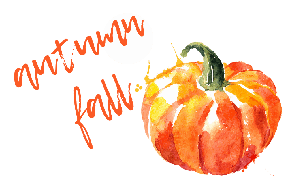 autumn fall title watercolour pumpkin