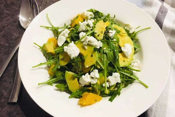 ARUGULA GOAT CHEESE SALAD IN LANDSCAPE