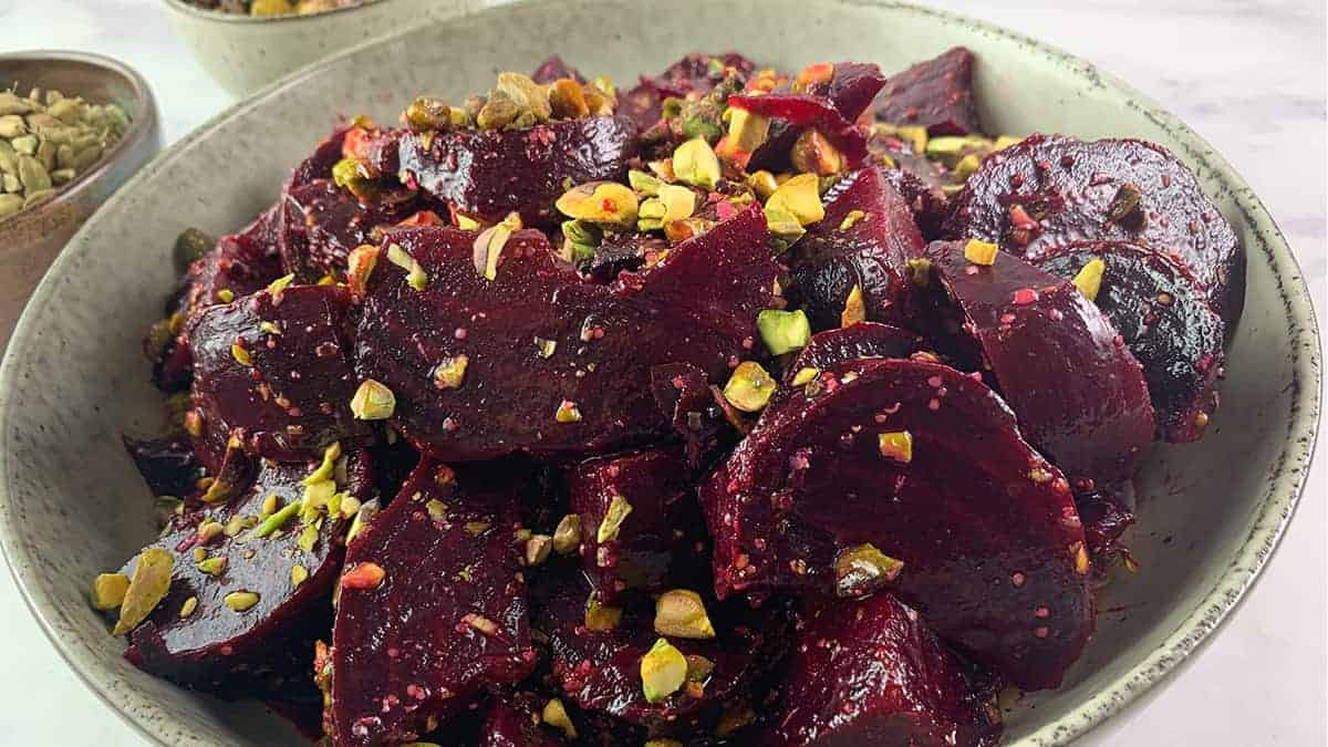ROASTED BEET SALAD AT AN ANGLE LANDSCAPE
