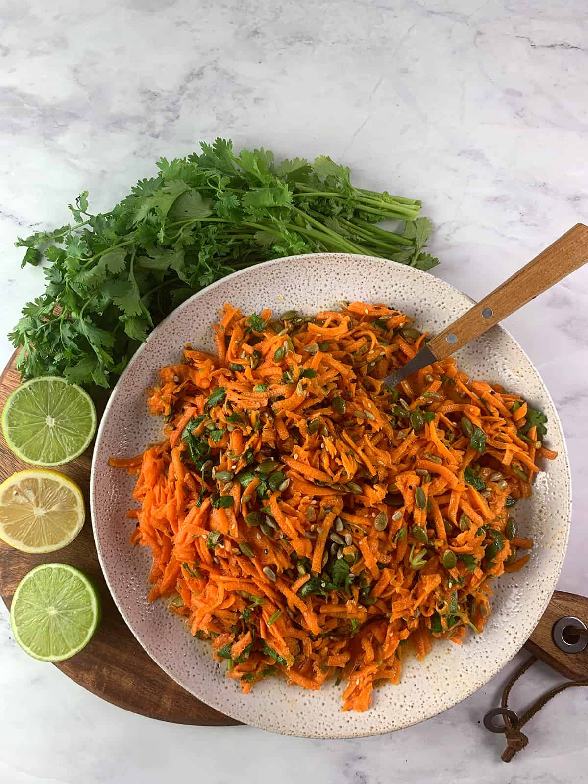 SHREDDED CARROT SALAD AERIAL VIEW