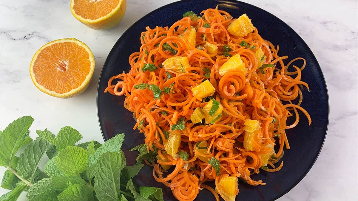 SPIRAL CARROT SALAD WITH ORANGE AND MINT