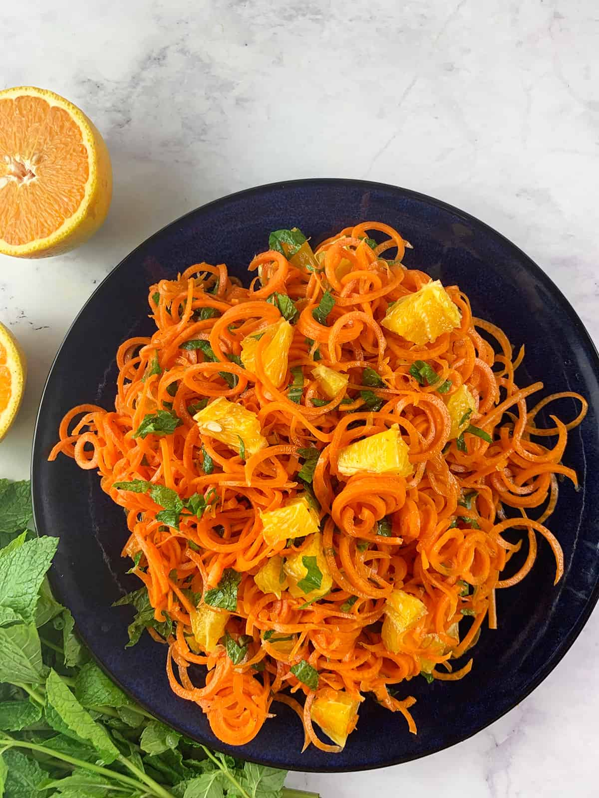 SPIRAL CARROT AND ORANGE SALAD WTH MINT