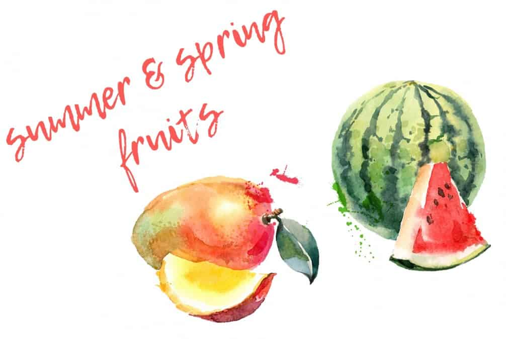 SPRING SUMMER FRUITS WATERCOLUR TITLE