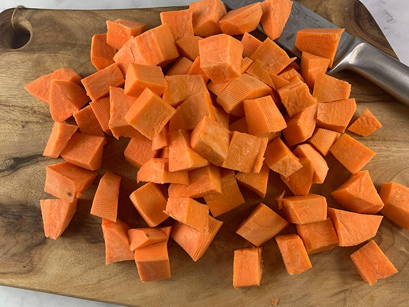 SWEET POTATOES CUT IN A MEDIUM DICE