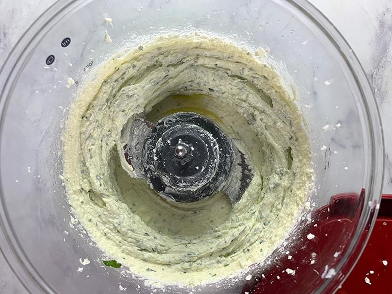 FETA, CREAM CHEESE, OLIVE OIL, BASIL BLITZED IN A FOOD PROCESSOR