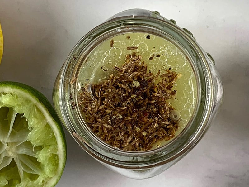 CITRUS-CUMIN-VINAIGREET-INGREDIENTS IN A GLASS JAR