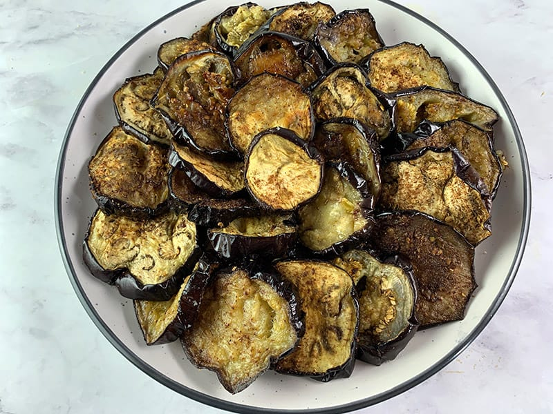 ROASTED EGGPLANT ROUNDS ON A PLATTER