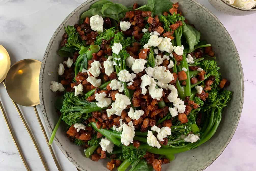 BROCCOLINI SALAD WITH CRISPY CHORIZO & FETA