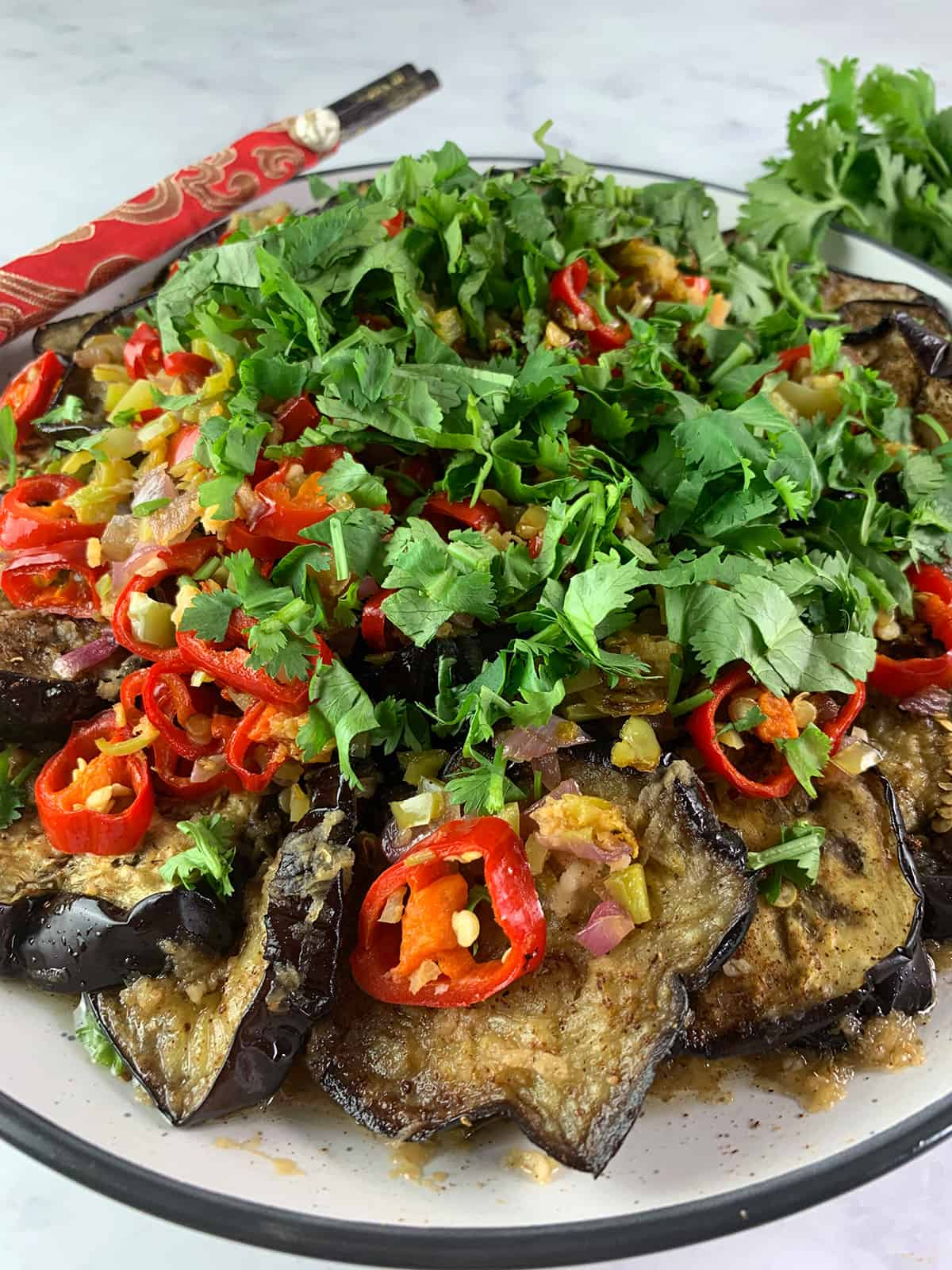 CLOSE UP OF CHINESE EGGPLANT SALAD PORTRAIT
