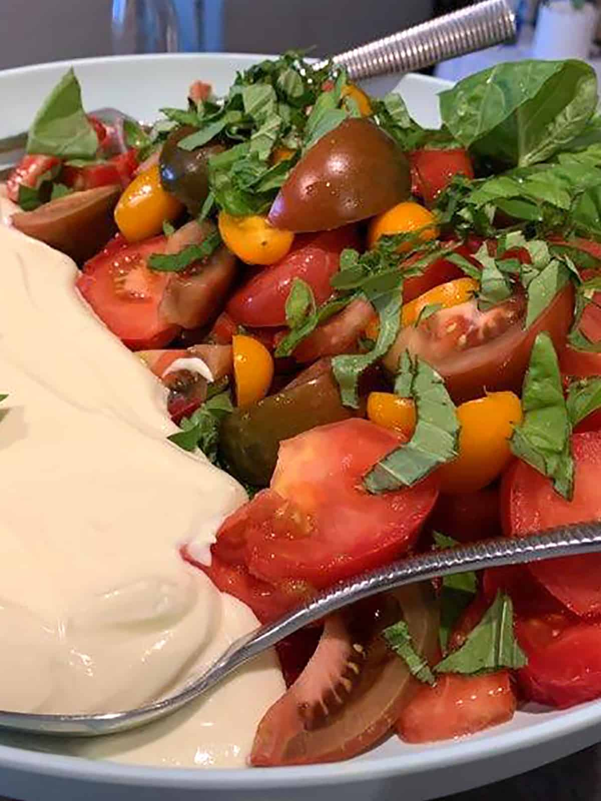 HEIRLOOM TOMATO MEDLEY WITH WHIPPED FETA AND FRESH BASIL