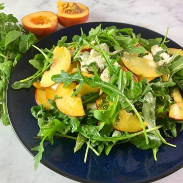 PEACH SALAD IN LANDSCAPE AT A SLIGHT ANGLE