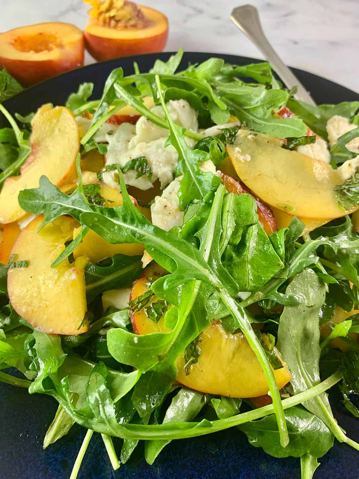 CLOSE UP OF PEACH SALAD IN PORTRAIT VIEW