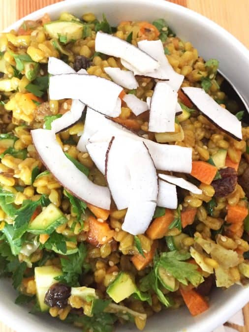 CLOSE UP OF INDIAN BROWN RICE SALAD